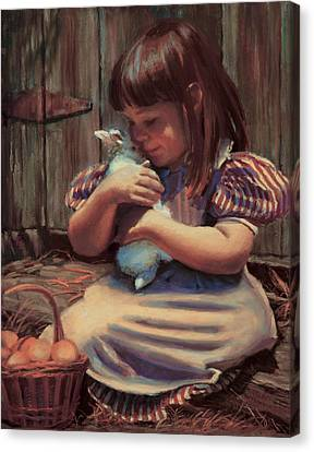Girl With A Bunny Canvas Print by Jean Hildebrant