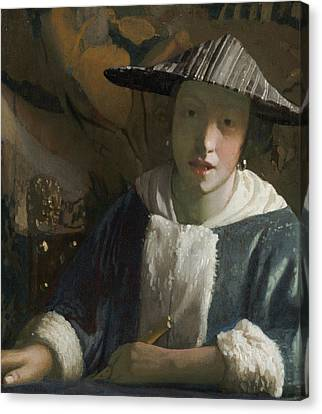 Girl With A Flute Canvas Print by Attributed To Johannes Vermeer