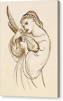 Girl With A Musical Instrument Canvas Print by Dante Gabriel Rossetti