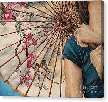 Girl With A Parasol Canvas Print