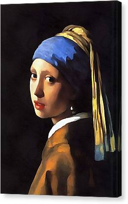 Girl With A Pearl Earring After Johannes Vermeer Canvas Print by Tracey Harrington-Simpson