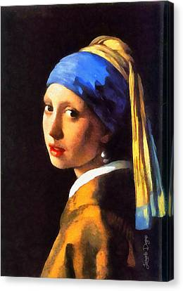 Girl With A Pearl Earring By Johannes Vermeer Revisited - Da Canvas Print by Leonardo Digenio