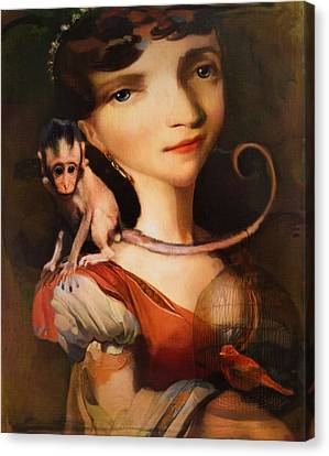Canvas Print featuring the photograph Girl With A Pet Monkey by Sharon Jones