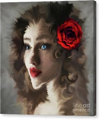 Girl With A Red Rose.. Canvas Print by Prar Kulasekara