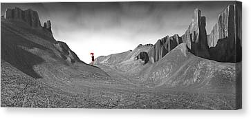 Girl With A Red Umbrella 1 Canvas Print