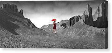 Girl With A Red Umbrella 2 Canvas Print