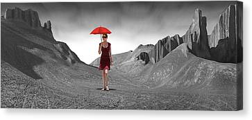 Girl With A Red Umbrella 3 Canvas Print