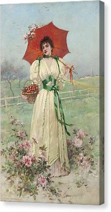 Girl With A Red Umbrella Canvas Print by Emile Eisman