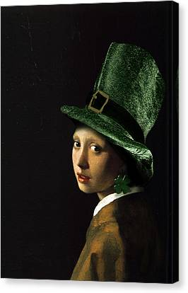 Girl With A Shamrock Earring Canvas Print by Gravityx9   Designs
