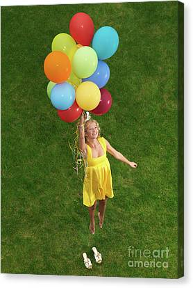 Girl With Air Balloons Canvas Print by Oleksiy Maksymenko