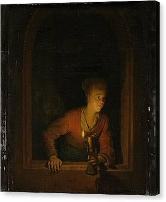 Girl With An Oil Lamp At A Window Canvas Print by Gerard Dou