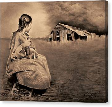 Girl With Axe Sepia Canvas Print by Chad Glass