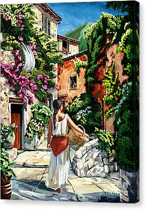 Girl With Basket On A Greek Island Canvas Print