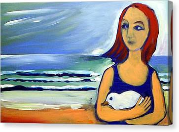 Canvas Print featuring the painting Girl With Bird by Winsome Gunning