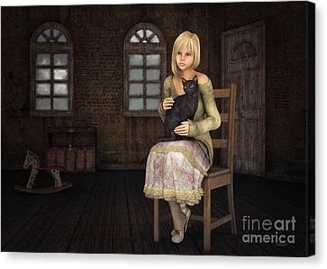 Girl With Black Cat Canvas Print by Jutta Maria Pusl