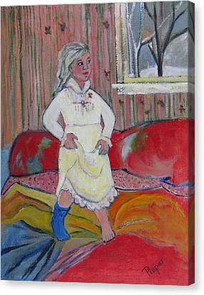 Girl With Blue Sock And Red Toe Nails Canvas Print by Betty Pieper