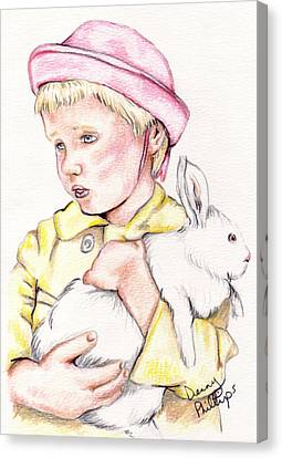 Girl With Bunny Canvas Print by Denny Phillips