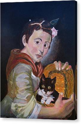Girl With Cat Canvas Print by Teighlor Chaney