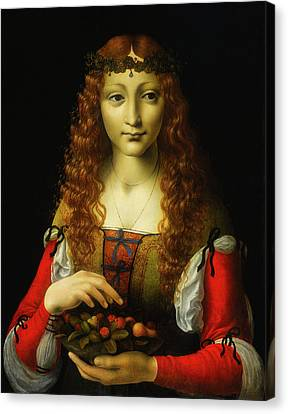 Canvas Print featuring the painting Girl With Cherries by Giovanni De Predis