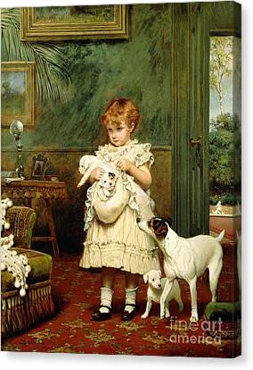 Fun Canvas Print - Girl With Dogs by Charles Burton Barber