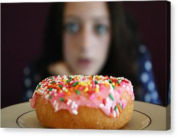 Girl With Doughnut Canvas Print by Linda Woods