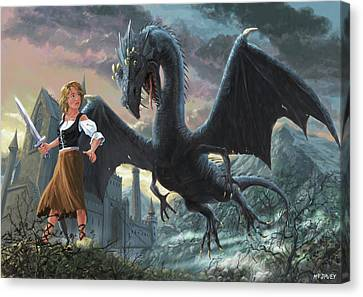 Canvas Print - Girl With Dragon Fantasy by Martin Davey