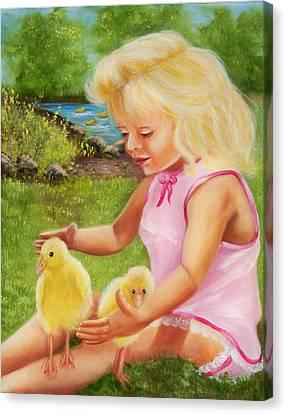 Girl With Ducks Canvas Print by Joni McPherson