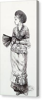 Girl With Fan Canvas Print by Winslow Homer