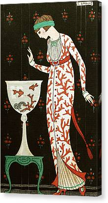 Girl With Fish Bowl Canvas Print by Georges Barbier