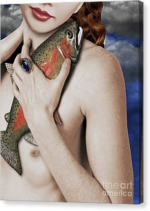 Girl With Fish Canvas Print by Keith Dillon