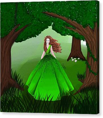 Girl With Green Canvas Print