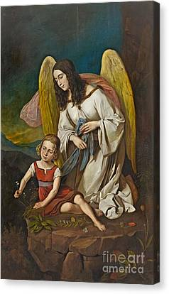 Girl With Guardian Angel Canvas Print by MotionAge Designs
