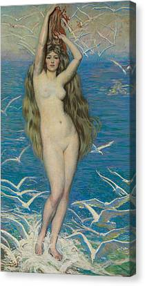 Girl With Gulls Canvas Print by Philip Leslie Hale