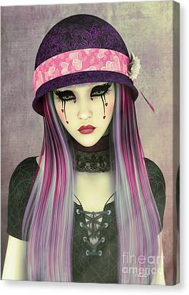 Melancholy Canvas Print - Girl With Hat by Jutta Maria Pusl