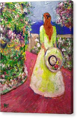 Patricia Taylor Canvas Print - Girl With Hat On The Garden Path by Patricia Taylor