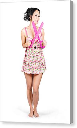 Girl With Large Pair Of Scissors. Cut Price Sale Canvas Print