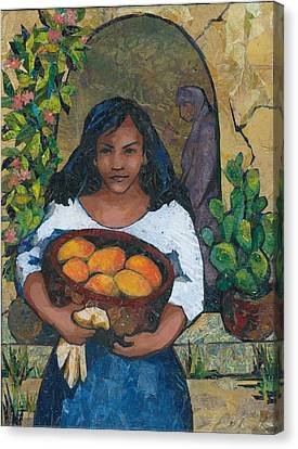 Girl With Mangoes Canvas Print by Barbara Nye