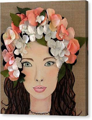 Girl With Peach Flowers Canvas Print