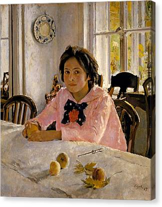 Girl With Peaches. Portrait Of V.s. Mamontova Canvas Print