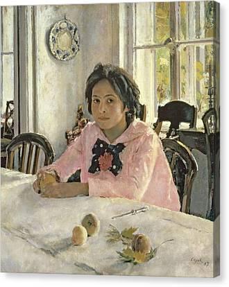 Kitchen Chair Canvas Print - Girl With Peaches by Valentin Aleksandrovich Serov