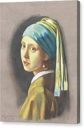 Girl With Pearl Earring By Vermeer Canvas Print by Kean Butterfield