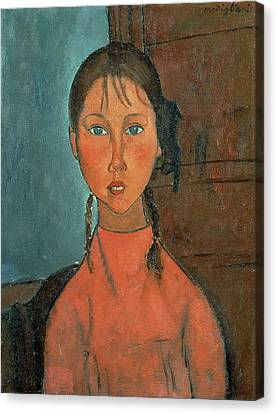 1918 Canvas Print - Girl With Pigtails by Amedeo Modigliani
