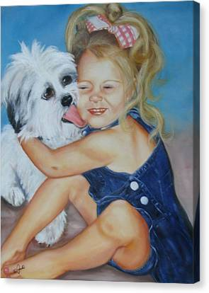 Canvas Print featuring the painting Girl With Puppy by Joni McPherson