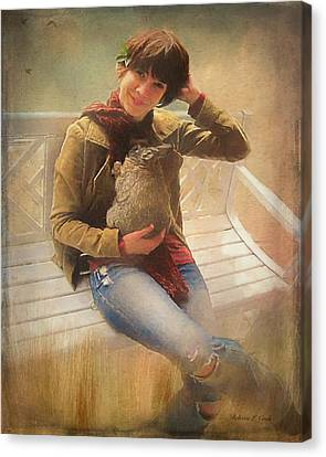 Canvas Print featuring the photograph Girl With Rabbit by Bellesouth Studio