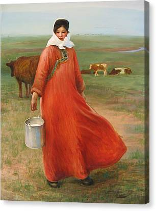 Girl With Red Robe  Canvas Print