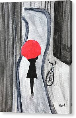 Girl With Red Umbrella Canvas Print by Monika Howarth