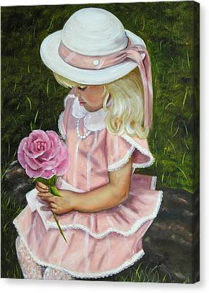 Canvas Print featuring the painting Girl With Rose by Joni McPherson
