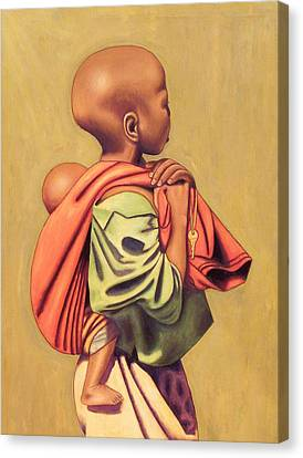 Girl With Sibling Canvas Print by Nisty Wizy