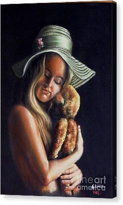 Girl With Teddy Canvas Print