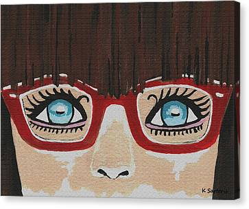 Canvas Print featuring the painting Girl With The Red Glasses by Kathleen Sartoris